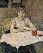 Young woman at a table Henri de toulouse-lautrec